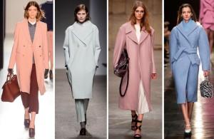 Пальто в пастельных тонах голубого, зеленого, розового цветов