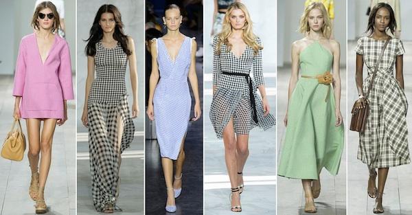 Летом 2015 очень модно носить платья, блузки, юбки из двухцветной клетчатой ткани