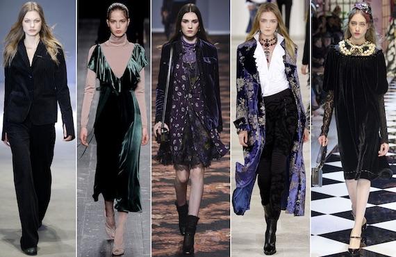 Бархатные платья, брюки, жакеты и пальто модно