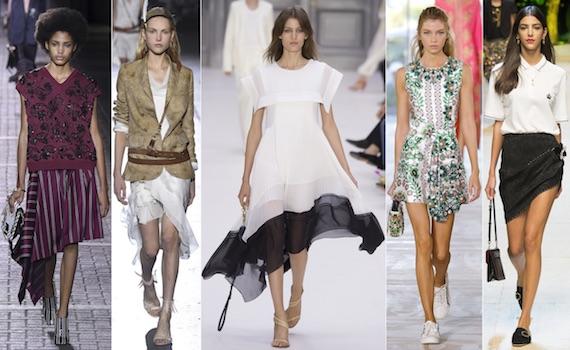 Юбки разной длины очень модно в 2017