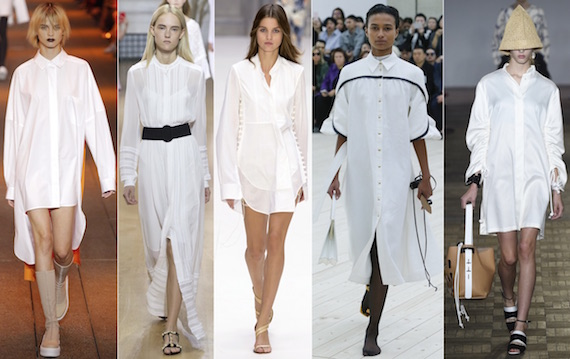 Модное в 2017 платье-рубашка белого цвета