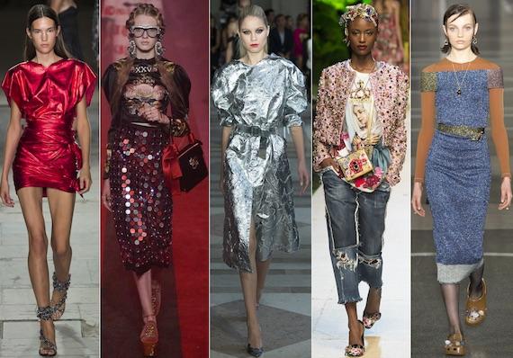 Блестящая одежда в моде 2017